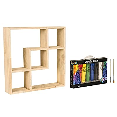 Julie-Home DIY Creative Painting Natural Wooden Display Floating Storage Decorative Wall Shelf with Acrylic Paint - Modern simple design:The open design of this Geometric Pattern Shelf with 5 Openings offers a variety of display spaces within and on top. DIY concept:Comes in with DIY coloring option. High quality Acrylic paint set included.Keep your nice and meaningful memory through Juliehome products. Eco-friendly and durable material:High quality natural wood material. - wall-shelves, living-room-furniture, living-room - 41uY6Mkh70L. SS400  -