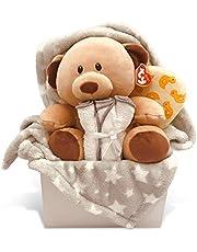 Newborn Baby Unisex Gift Basket with Fleece Blanket, TY Plush Teddy Bear, 3 Washcloths and Bathtime Accessory - Expecting Moms, Parent, Infants, Toddlers - by Pellatt Cornucopia