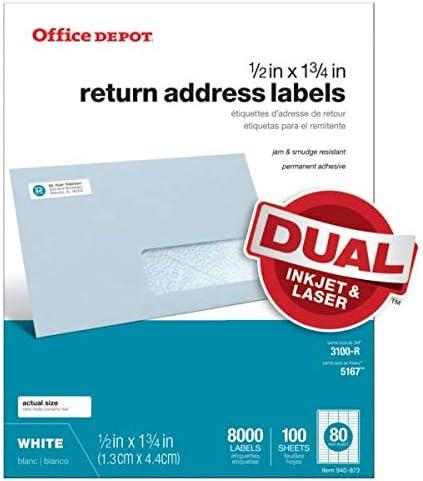 Office Depot blanco retorno de inyección de tinta/láser etiquetas ...