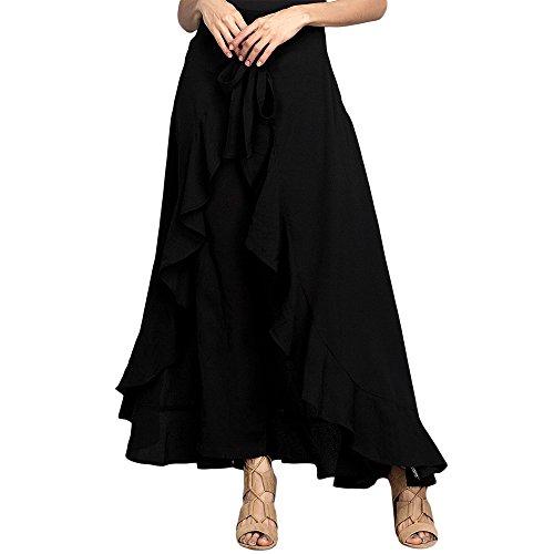 Jessica CC Women's Solid Ruffle Wide Leg High Waist Loose Palazzo Skirt Pants,Black,X-Large