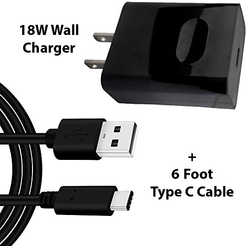 USB Type-C 6 FOOT Cable QC 3.0 with 18W Rapid Fast Wall Charger for Samsung Galaxy S8 S8 Plus Note 8 S9 S9 Plus, LG G6 G5 V30 V20, Pixel 2, HTC U11 Nokia 8 Nexus 5x 6p, GoPro Hero 6 OnePlus 5 By Moona