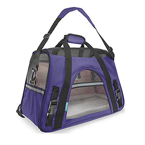 (FR6RFS Oxford Breathable Bag for Cats Pet Carrier Dog Designer Carrier Bags for Puppy Medium Transport Carriers Purple 48x25x33cm )