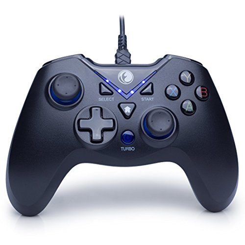 ZD IFYOO V-one Wired Gaming Controller USB Gamepad Joystick For PC(Windows XP/7/8/10) & PlayStation 3 & Android & Steam (V-one[Black&Blue])