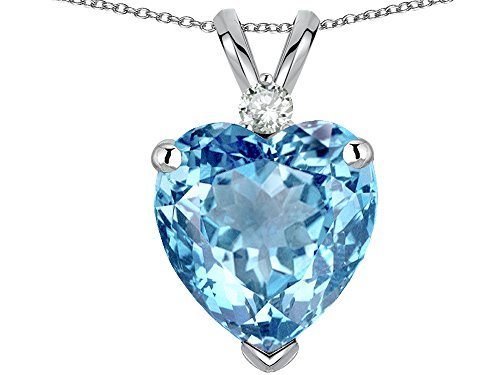 Star K 8mm Light Sky Blue Topaz Heart Pendant Necklace 10 kt White Gold