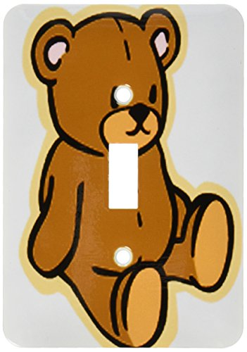 3dRose lsp_37353_1 Cute Brown Teddy Bear Single Toggle Switch (Teddy Switchplate)
