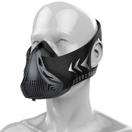JIFENG Máscara de oxígeno, Deporte Mascara, Running Fitness Meseta de simulación, Entrenamiento físico, respirador de máscara,La Fibra de Carbono L: ...