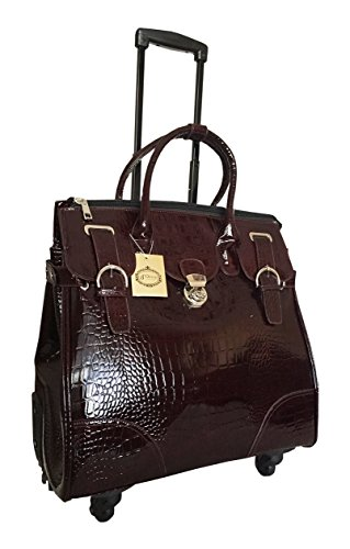 Trendy Flyer Computer/laptop Large Bag Tote Duffel Rolling 4 Wheel Spinner Luggage Brown Croc by Trendy Flyer