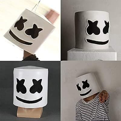 Pgige Moda Fiesta de Halloween Club Nocturno Látex Máscara Blanca Adulto DJ Marshmello Máscara Cosplay Traje Casco