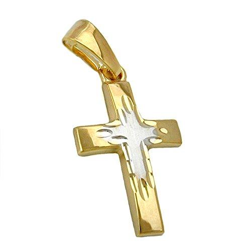 Pendentif, croix bicolore, or 9carats