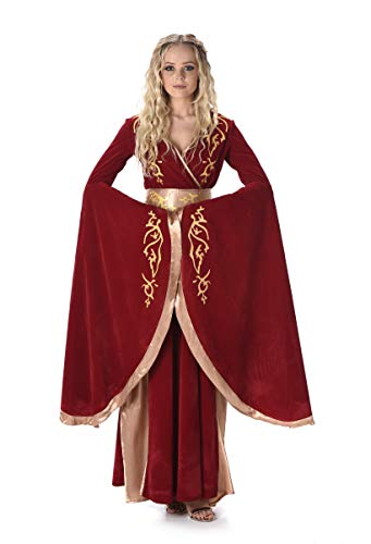 Medieval Queen Costume - Halloween Red Fantasy Palace Dress, Red Gold, Medium