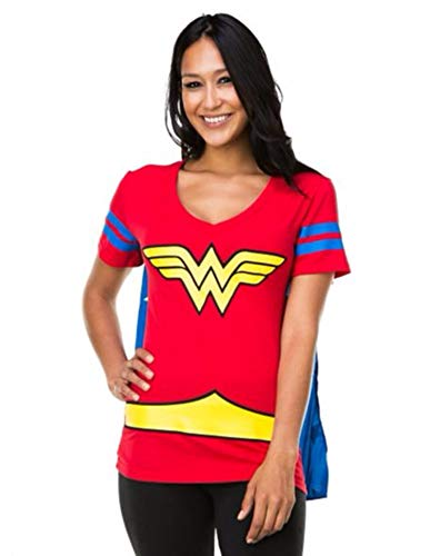 Dc Comics Wonderwoman Blue Stripes Juniors Cape T-Shirt (Large)]()
