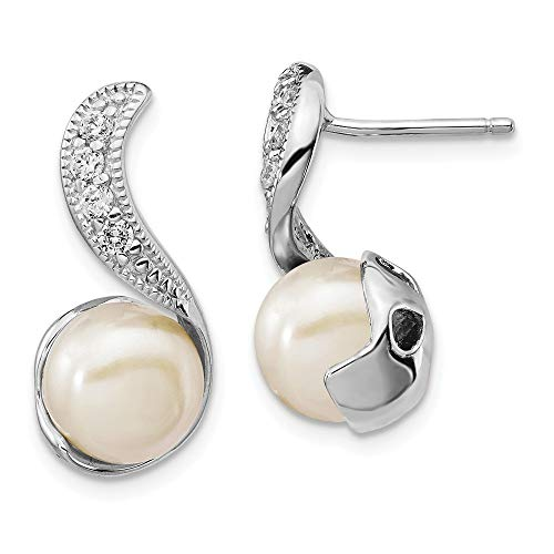 - 925 Sterling Silver Rhod Plated Cubic Zirconia Cz Freshwater Cultured Pearl Swirl Post Stud Earrings Drop Dangle Fine Jewelry Gifts For Women For Her