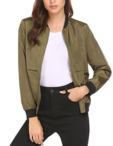 (Grabsa Women's Bomber Jacket Classic Zip Up Vintage Short Jacket Army Green Small)
