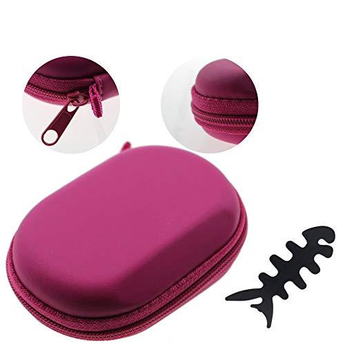 Litop Hot Pink Oval Style PU Earphone Case Earphone Bag Carrying Hard Case Storage Bag for MP3/MP4 Bluetooth Earphone Earbuds Zipper Enclosure Inner Pocket with Cost-free Fish Bone Shape Earphone Organizer Winder
