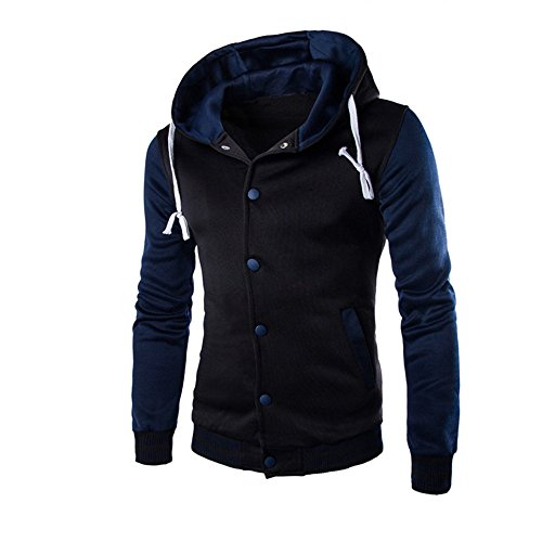 HARRYSTORE Outerwear Hooded Sweatshirt Hoodie Retro Navy Slim Men Button Long Jacket Hooded Sleeve RrSpfRq