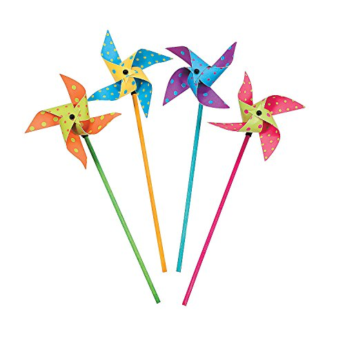 2 Set of 36 Fun Express Bright Polka Dot Pinwheels bundled by Maven Gifts by Fun Express,