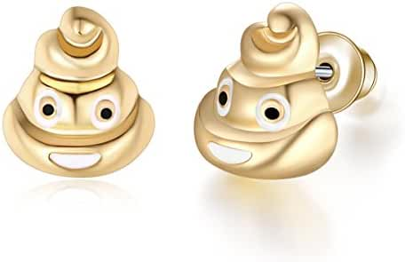 Eccosa Trendy 18K Gold Plated Faces Charms Earrings for Women