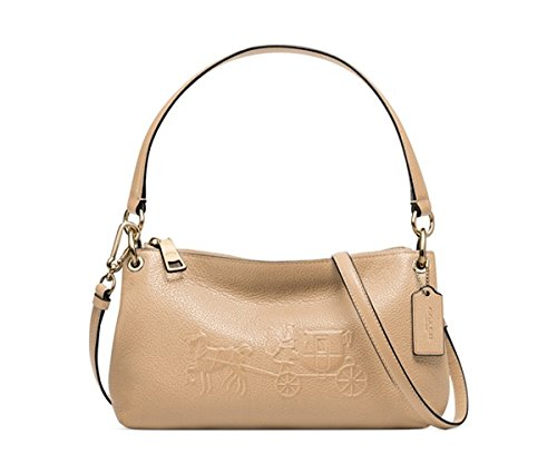 Coach Embossed Horse and Carriage Charley Crossbody in Pebbled Leather LIGHT GOLD/NUDE by Coach