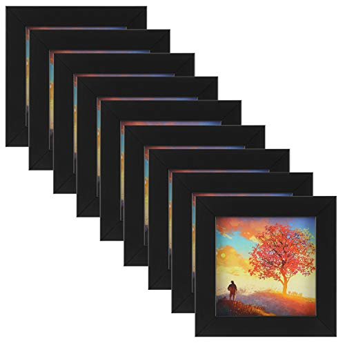 ONE WALL 9PCS 4x4 Black Picture Frame Clear Glass Well Packed (Window 3.6x3.6), Wood Photo Frame for Wall and Tabletop - Wall Mounting Hardware Included