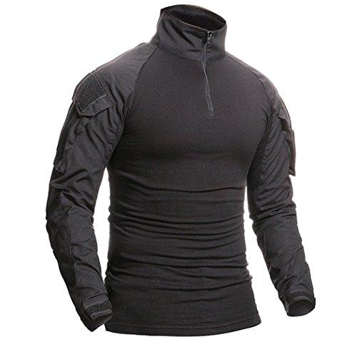 ShallGood T-shirt technique à manches longues pour homme - style militaire - idéal pour l'extérieur, le camouflage, la… 2