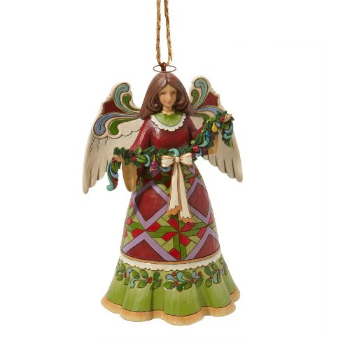 Enesco Jim Shore Heartwood Creek Red and Green Angel Ornament