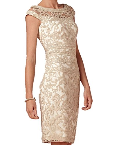 Bride Sleeveless Dress (Promshow Women's Sexy Soft Lace Sheath mother of the bride dresses Size 14 Champagne)