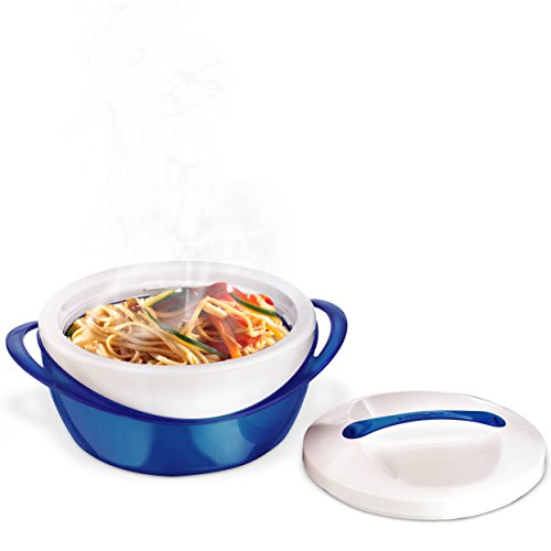 Pinnacle Casserole Dish - Large Soup and Salad Bowl Set - Insulated Serving Bowl With Lid - 3 Pc. Set Blue