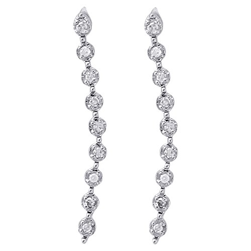 Cut Diamond Dangle Earrings - 10K White Gold Round Cut Diamond Curved Journey Dangler Earrings 0.74