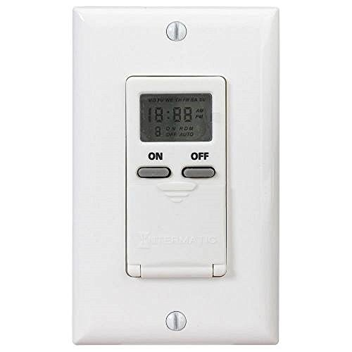 Intermatic EI500WC Electronic In-Wall Switch Timer, 10000 Cycle, 24 Hr, Plastic, Light ()