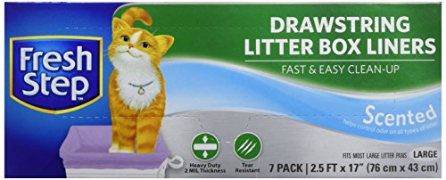 Fresh Step Drawstring Cat Litter Box Liners, Fresh Scent, Size Large, 30 x 17 - 7 Count | Kitty Litter Bags