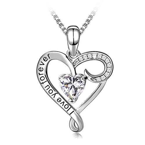 Long Way Necklace,925 Sterling Silver I Love You Forever White Heart Pendant Necklace with 5A CZ Fine Jewelry for Women, Best Gift for Mother Wife Girlfriend at Birthday New Year