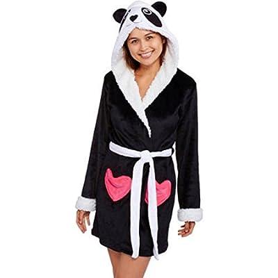 Girl's Huggable Hooded Luxe Critter Sleepwear Robe, Black Panda