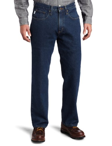 Carhartt Men's Relaxed Straight Denim Five Pocket Jean,Dark Vintage Blue,34 x 38 by Carhartt