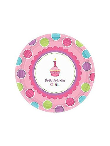 Amscan Sweet Little Cupcake Girl dessert Plates - 18 ct (Sweet Amscan Little Cupcake)