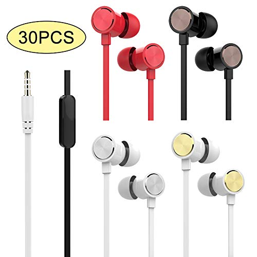 YOOKIE Wholesale Earphones with Microphone Noise Isolating In-ear Earbuds In Bulk Mixed Color 30Pcs Stereo Sound Headphones for Kids School Pack of 30