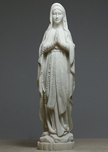 Madonna Holy Blessed Virgin Mother Mary Lady Alabaster Statue Sculpture 8.66΄΄ (White Alabaster Statue)