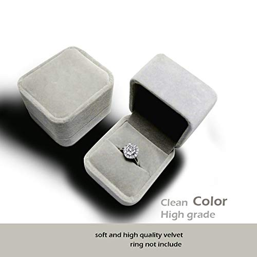 Silver Box Ring - duoduodesign Classic Velvet Engagement Ring Box (Silver Gray)