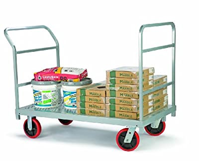 "Raymond 3967 Steel Heavy Duty Platform Truck with 8"" x 2"" Quiet Poly Caster, 2400 lbs Capacity, 54"" Length x 30"" Width"