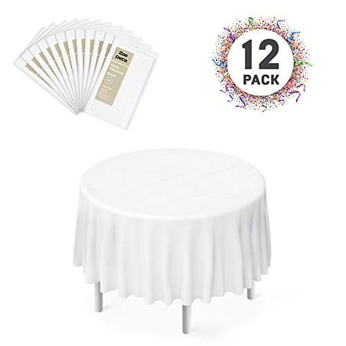 "Zoe Deco Plastic Tablecloth, 84"" Diameter Round White Tablec"