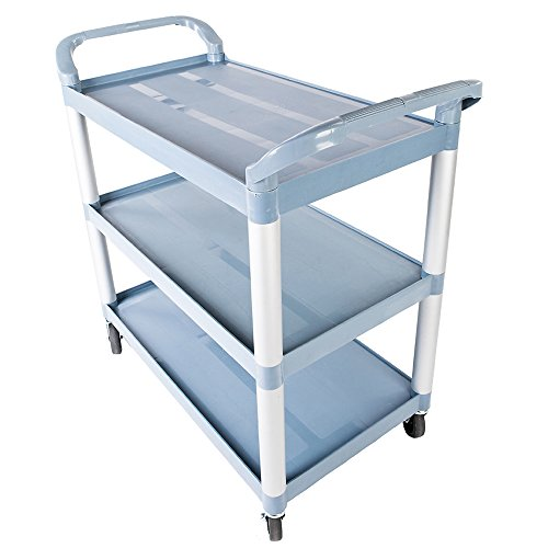 Bonnlo Heavy Duty 3 Tier Rolling Utility Cart Plastic Bus Cart Sturdy & Large-Sized 42'' L x 21.7'' W x 39'' H for Party Banquet or Medical Equipment Storage Food Dishes Transport (Gray) by Bonnlo