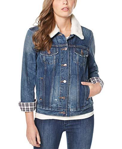 Buffalo David Bitton Womens Nova Spring Faux Fur Trim Denim Jacket Blue XL