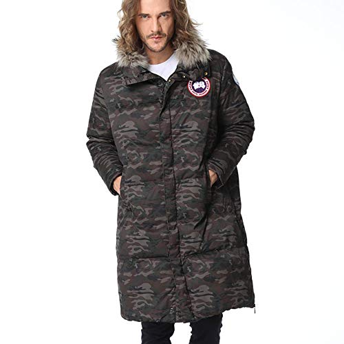 Men's Winter Coat Warm Fur Collar Casual Jacket Fashion Outdoor Camouflage Long Down Jackets