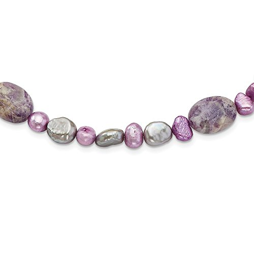 (JewelryWeb Sterling Silver Fancy Lobster Closure Charoite Dyed Jade and Freshwater Cultured Pearl Necklace - 16 Inch)