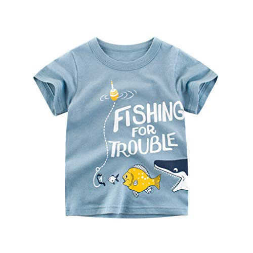 Fish Tee Cotton Organic - Kehen- Kid T-Shirt Toddler Boy Girl Summer Clothes Outfit Short Sleeve Cartoon Fish Print Tee Shirt Top Blue 5T