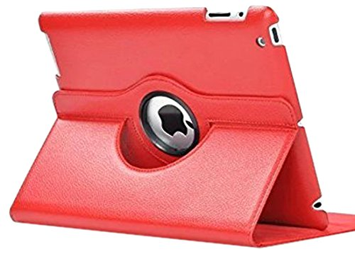 SuperLite 360 Degrees Rotating Stand Leather Case for Ipad 2 3 4 - red