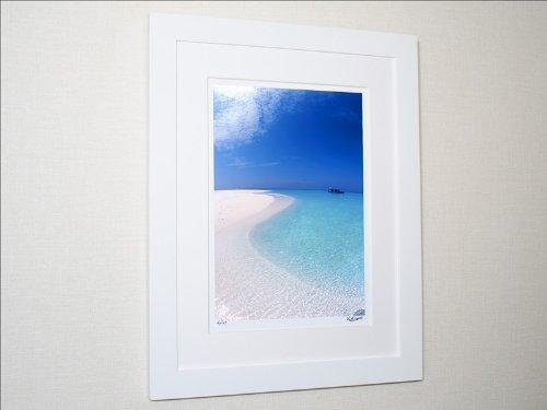 アートフォト 砂浜の曲線(撮影地:モルディブ)/ 絵画 壁掛け のあゆわら B001LM23GU 特大サイズ|ナチュラルウッドフレーム ナチュラルウッドフレーム 特大サイズ