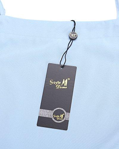StyleDome Chemise Demi Epaules Femme Lache Manche Casual Shirt Haut Bleu Tunique Dnudes Large Tops vxgwRqvnr