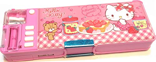 Hello Kitty Glitter Glue Multi Functional 2-Sided Holder Pencil Pen Box Deluxe Stationery Case w/Sharpener Timetable