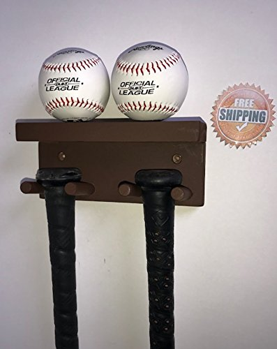 Baseball Bat Rack Holder Display Wall Mount Wood Brown 3 Full Size Bats 2 Baseballs by MWC