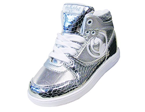 - Baby Phat Brittany Girls Fashion High Top Sneakers (10, Silver/White)